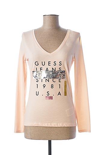 T-shirt manches longues rose GUESS pour femme