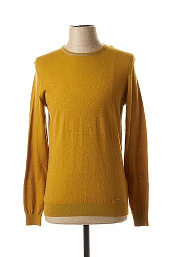 Pull col rond jaune GUESS pour homme