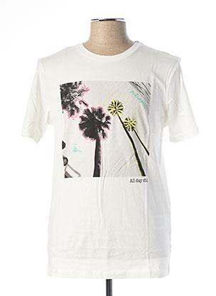 T-shirt manches courtes blanc JACK & JONES pour homme