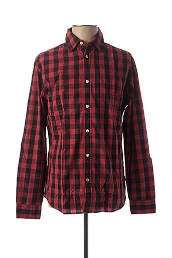 Chemise manches longues rouge JACK & JONES pour homme