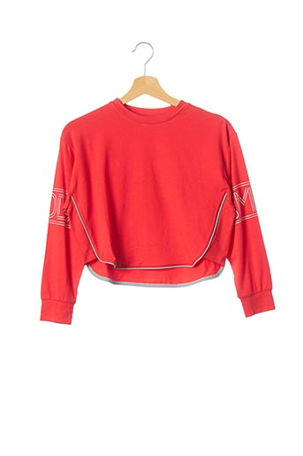 T-shirt manches longues rouge TEDDY SMITH pour fille