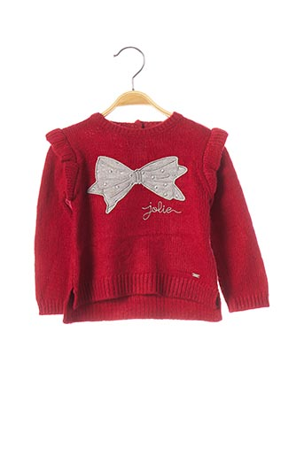 Pull col rond rouge MAYORAL pour fille