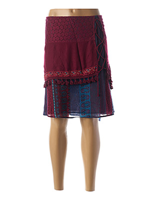 Jupe mi-longue rouge COLLINE pour femme
