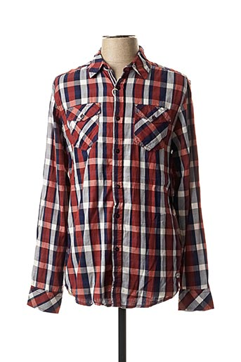 Chemise manches longues rouge EBOUND pour homme