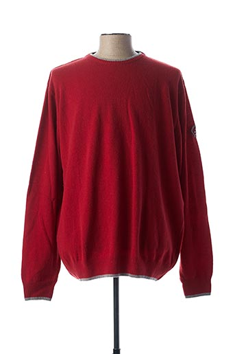 Pull col rond rouge DELAHAYE pour homme