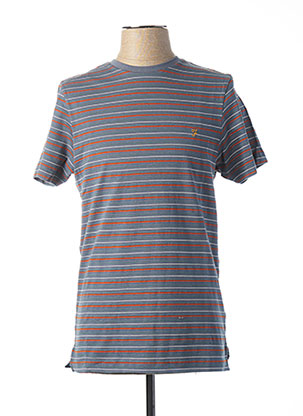 T-shirt manches courtes bleu FARAH VINTAGE pour homme