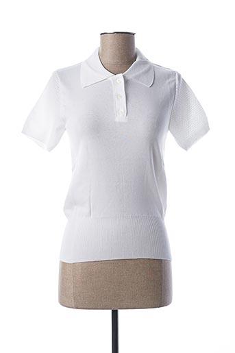 Pull col chemisier blanc STEFAN GREEN pour femme