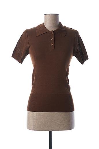 Pull col chemisier marron STEFAN GREEN pour femme