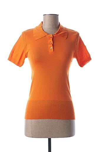Pull col chemisier orange STEFAN GREEN pour femme