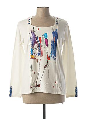 T-shirt manches longues blanc AVENTURES DES TOILES pour femme