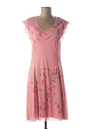 Robe mi-longue rose AVENTURES DES TOILES pour femme