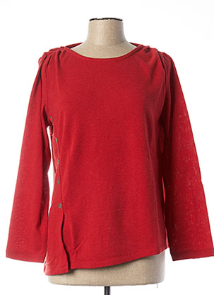 Pull col rond rouge MALOKA pour femme