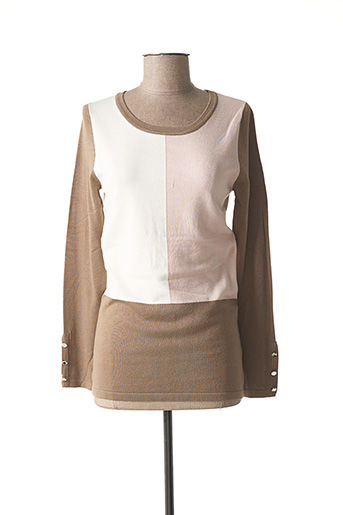 Pull col rond marron MARBLE pour femme