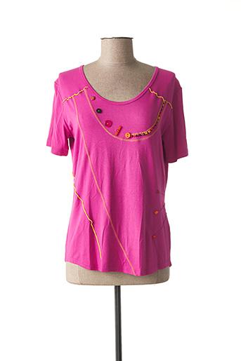 T-shirt manches courtes rose CLAUDE DE SAIVRE pour femme