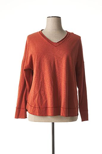 T-shirt manches longues marron FRANCK ANNA pour femme