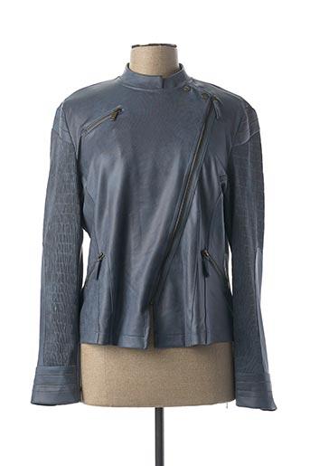 Veste simili cuir bleu EVA KAYAN pour femme