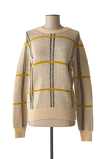 Pull col rond beige ICHI pour femme