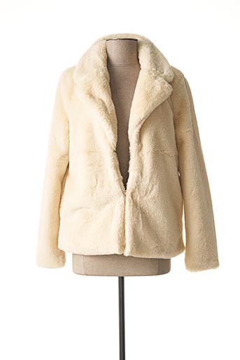 Manteau court beige ICHI pour femme