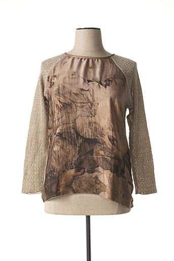 Pull col rond marron CAPUCCINO pour femme