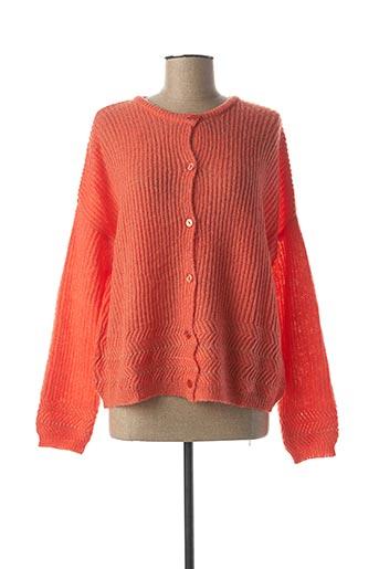 Gilet manches longues orange GRACE & MILA pour femme