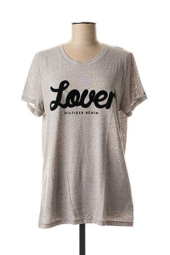 T-shirt manches courtes gris TOMMY HILFIGER pour femme