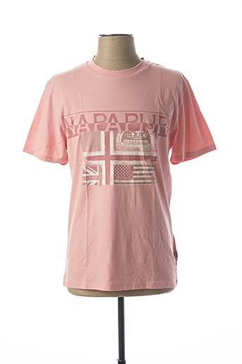 T-shirt manches courtes rose NAPAPIJRI pour homme