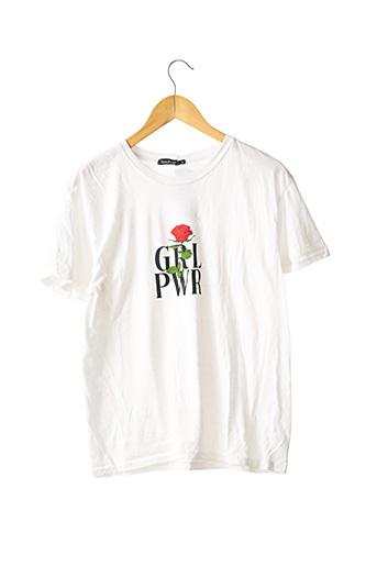 T-shirt manches courtes blanc BOOHOO pour femme