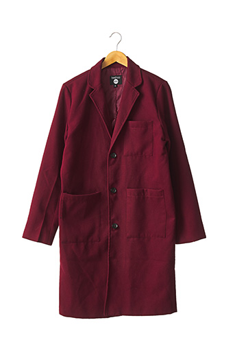 Manteau long rouge BOOHOO pour homme
