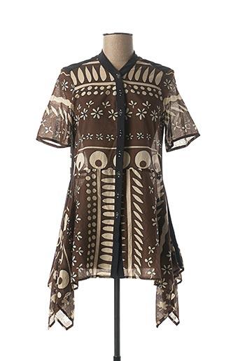 Tunique manches courtes marron BLEU BLANC ROUGE pour femme