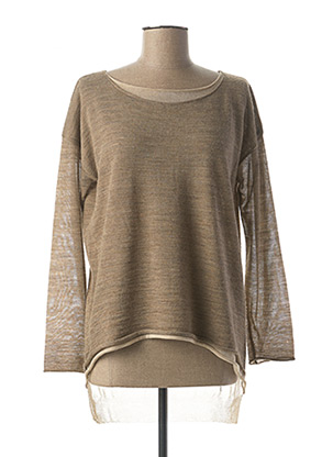Pull col rond beige LA FEE MARABOUTEE pour femme