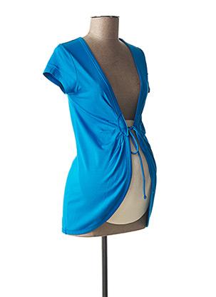 Gilet manches courtes bleu QUEEN MUM pour femme