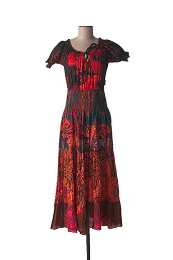 Robe mi-longue orange DIPAWALI pour femme