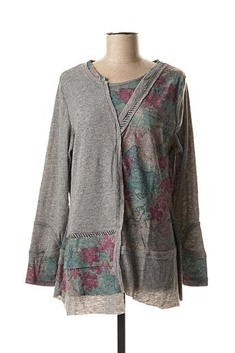 T-shirt manches longues gris POMME ROUGE pour femme