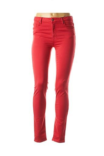Jeans coupe slim rouge EMMA & ROCK pour femme