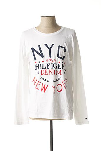 T-shirt manches longues blanc TOMMY HILFIGER pour homme