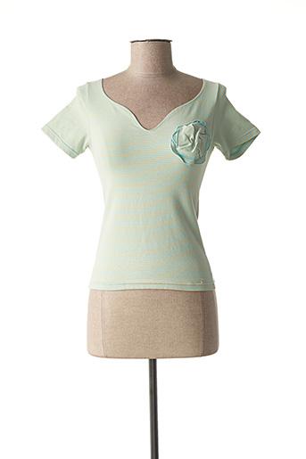 T-shirt manches courtes bleu DES PETITS HAUTS pour femme