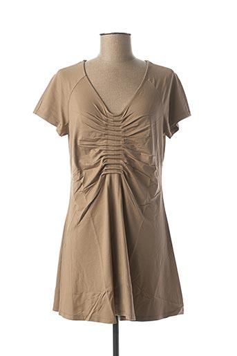 Robe courte beige LAUREN VIDAL pour femme
