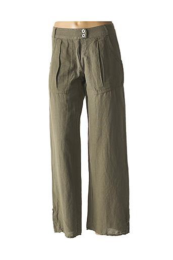 Pantalon casual vert LA FEE MARABOUTEE pour femme