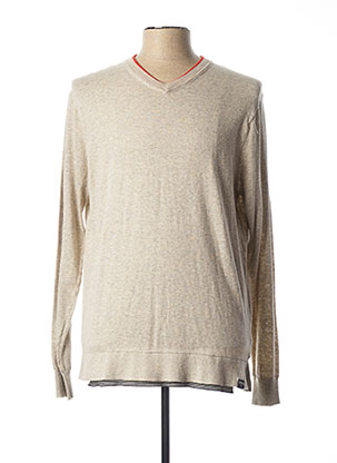 Pull col V beige SCOTCH & SODA pour homme