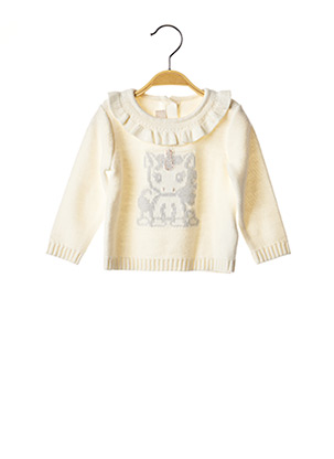 Pull col rond blanc CHICCO pour fille