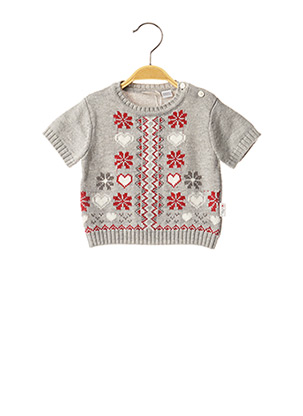 Pull col rond gris CHICCO pour fille