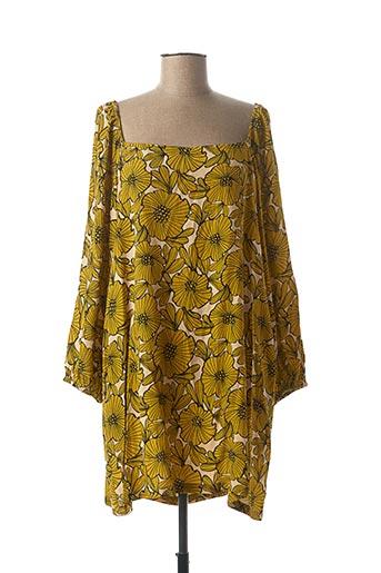 Robe courte jaune TRAFFIC PEOPLE pour femme
