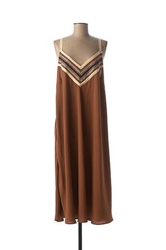 Robe mi-longue marron MAT. pour femme
