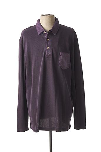 Polo manches longues violet HAJO pour homme