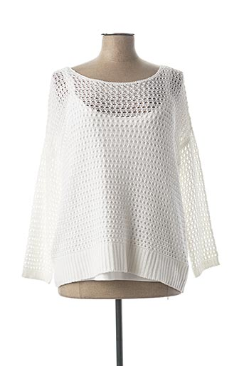 Pull col rond blanc MARBLE pour femme