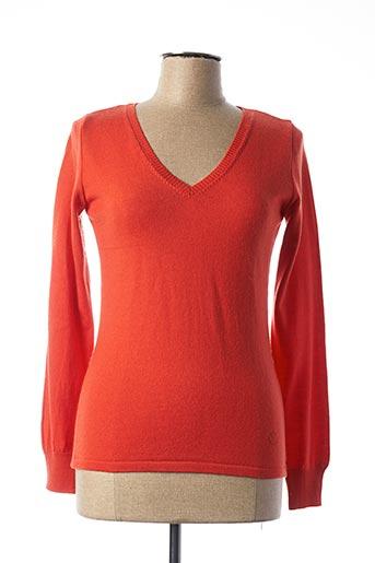 Pull col V orange ROYALMER pour femme