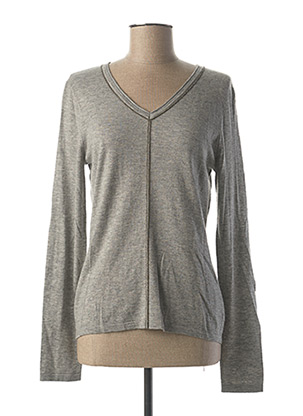 Pull col V gris FUEGO WOMAN pour femme