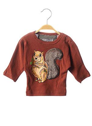 T-shirt manches longues marron MILK ON THE ROCKS pour garçon