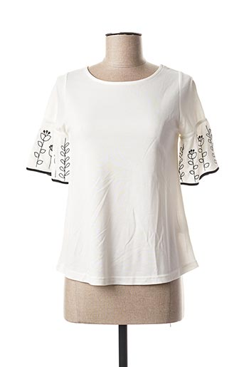 T-shirt manches courtes blanc COMOUNAREGADERA pour femme