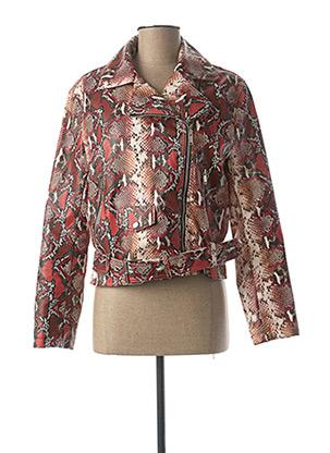 Veste simili cuir rouge SOFTY pour femme